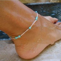 Turquoise Bead Adjustable Chain Anklet for Women or Teens Summer Beach or Casual Wear