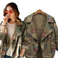 Camouflage Rose Print Notched Collar Denim Jacket