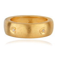 14K Yellow Gold Plated Brass Cubic Zirconia Engagement Wedding Band Ring