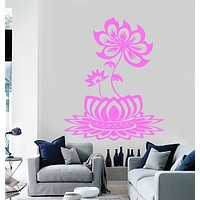 Vinyl Wall Decal Lotus Flower Beautiful Bedroom Decor Buddhism Stickers Unique Gift (139ig)