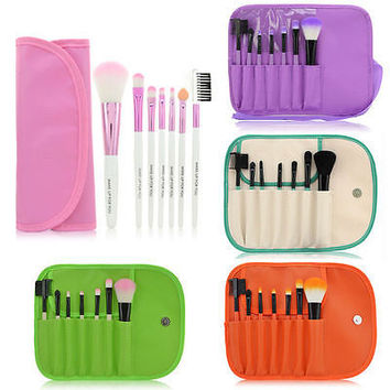 7 Pcs/Set Hot Sale Colorful Professional Soft Cosmetic Make-up Brushes Set Blush Brush + Pouch Bag Case Makeup Tools