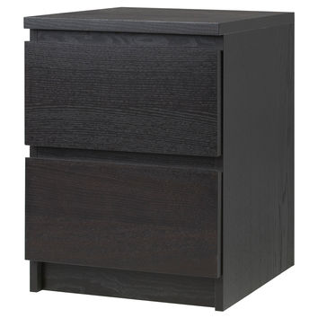 MALM Chest with 2 drawers - black-brown, 15 3/4x21 5/8