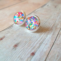 G L I T T E R - Multi Colored Red Pink Purple Blue Green Metallic Glitter Sparkle Photo Glass Cab Circle Silver Plated Post Stud Earrings