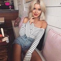 WannaThis Striped Bodysuits Women 2017 Autumn Slash Neck Long Flare Sleeve Bodycon Rompers Sexy Elegant Party Dating Suit Ladies