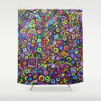 Circles and Squares Shower Curtain by RokinRonda