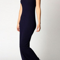 Navy Sleeveless Slim Maxi Dress