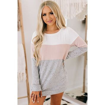 Our Song Color Block Sweater (Heather Grey/Mauve)
