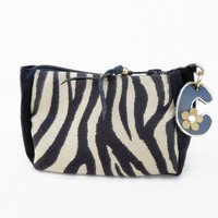 Zebra pouch, monogrammed purse, personalized bridesmaids gift