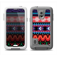 The Vector White-Blue-Red Aztec Pattern Samsung Galaxy S5 LifeProof Fre Case Skin Set