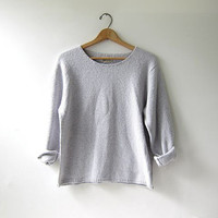 vintage cropped sweater. speckled lilac white sweater. cotton scoop neck sweater