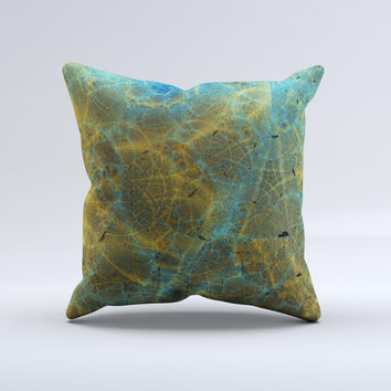 Green Blue and Brown Water Texture ink-Fuzed Decorative Throw Pillow