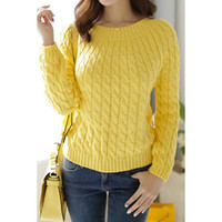Retro Style Long Sleeve Cable-Knit Sweater