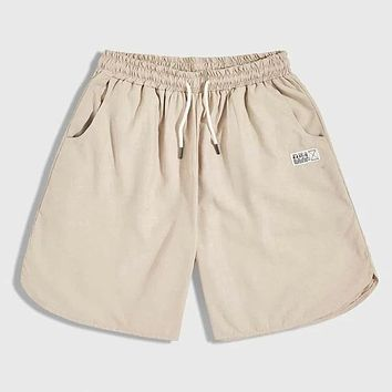 Fashion Casual Men Letter Patched Drawstring Waist Track Shorts