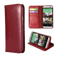 iVAPO Luxury Classic Retro Genuine Leather Cover Wallet Design & Stand Function Soft Case For HTC One M8 (MM451) (Red)