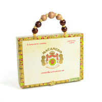 Cigar Box Purse - Upcycled Macanudo Crystal Cafe, Dominican Republic Imported Cigars Container - Wood Bead Handle - Vintage Storage Decor