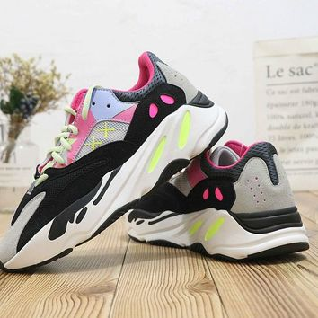 HCXX A398 Adidas Yeezy Boost 700 Ratro Casual Running Shoes Green Pink Black