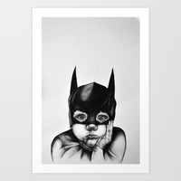 Waiting For a Hero (Bat Boy) Art Print by Lizzie Carr