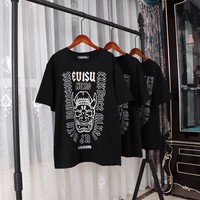 """Evisu"" Men Cool Fashion Casual Letter Ghost Face Print Short Sleeve T-shirt Top Tee"