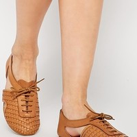 ASOS JUDE Woven Lace Up Leather Shoes