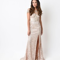 Champagne Lace & Satin Beaded Cap Sleeve Gown