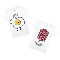 Bacon and Eggs Best Friends T-Shirt Graphic Print Tees   2 Piece Set