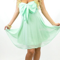 Camelot II Mint Bow Top Chiffon Mint Dress