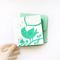 Happy Bird Song, set of 4 mint original hand painted cards, mint and emerald greeting cards, mint envelopes, bird, ecofriendly