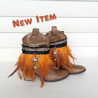 Feather Boot Cuffs Bohemian Boot Covers Gypsy Boot Wrap Ankle Cuff Boot Bracelet Boot Accessories Fashion Boot Bling