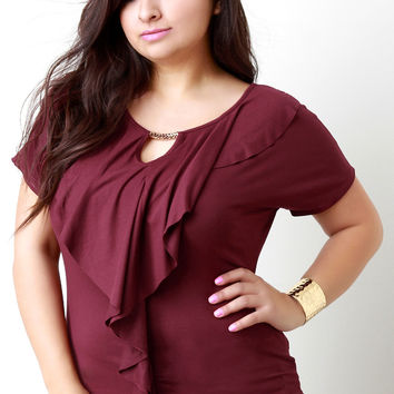 Ruffle and Gold Accent Keyhole Shortsleeve Top