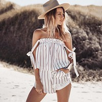 Fashion Casual Stripe Sleeveless Knotted Strap Vest Shorts Set Two-Piece