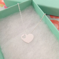 SALE-Valentine's Day Silver Heart Necklace,Women's Necklace,Heart Necklace,Cute Necklace,Bridesmaid Gift,Dainty Necklace,Birthday Gift