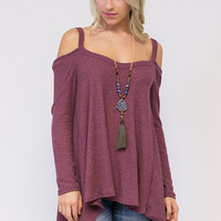 Thermal Off The Shoulder Long Sleeve Top