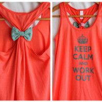 Keep Calm and WorkOut Bow Tank Top Coral- XLARGE
