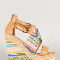 Women's Soda Aztec Print Pleated Criss Cross Open Toe Wedge