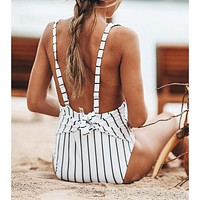 2020 new arrival women's sexy stitching striped tether one-piece swimsuit
