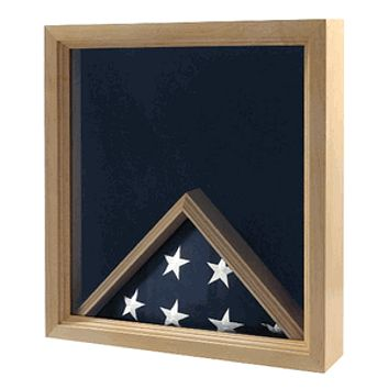 Military Insignia and Flag Display Case medals, memorabilia, certificates and a flag