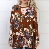 All About Florals Sweater Knit Shark Bite Tunic {Toffee}
