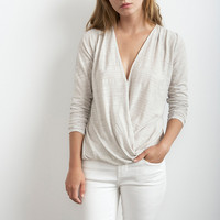 JEANNE TEXTURE KNIT DRAPED CROSSOVER