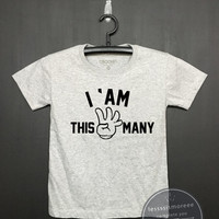 I am this many kids 4nd Birthday Shirt - Kids Birthday Shirt- Girl's birthday, Boy's birthday, Birthday tee - Funny Birthday, Flock printing