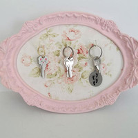 Shabby Chic Pink & White Ornate Key Holder