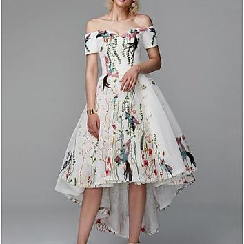 Princess Off Shoulder Asymmetrical Polyester High Low Cocktail Party / Prom Dress with Embroidery by TS Couture®