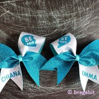 turquoise glitter and silver fabric best friends cheer bows