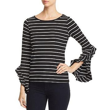 Red Haute Striped Bell-Sleeve Top, Large Black