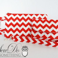Red and White Chevron Wristlet Wallet and Key Fob Set from Sew Do Something