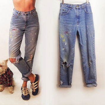 Vintage High Waisted 80s 90s Art Attack Boyfriend Distressed Jeans || Size 4 Size 26 Artist Jeans