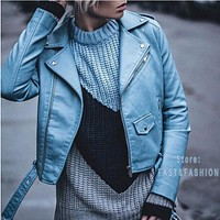 Womens Vegan Faux Leather Bomber Jackets Ladies Motorcycle Jacket Cool Asssorted Colors Coat with Belt FREE SHIPPING