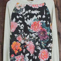 Cupshe Printing For You Floral Hooded Sweatshirt