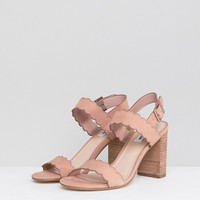 Dune Two Part Block Heel Scalloped Leather Sandal in Blush at asos.com