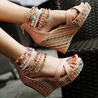 Beaded Multicolor Platform Wedge Sandals