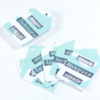 Dream Inspire Create Gift Tags on Blue Clouds Retail Hang Tags - use as Party Favors for Showers or Weddings - scrapbook embellishments